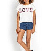 FOREVER 21 GIRLS Floral Love Tee (Kids) Ivory/Pink