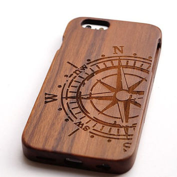 Compass Rose  Wood  Case for iPhone
