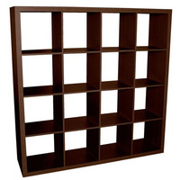 Caro - 4x4 Cube Bookcase, Bookshelf, walnut veneer color
