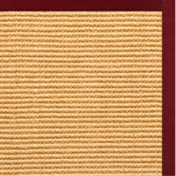 Sustainable Lifestyles Tan Sisal Rug with Cardinal Red Cotton Border