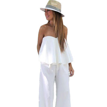 Women White Chiffon Jumpsuit 2016 Sexy Slash Neck Off Shoudler Boho Beach Bodysuit Long Jumpsuits Rompers 2 Piece Harem Jumpsuit