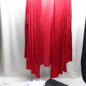 Set of 3 Isaac Liev Women's Lightweight Cardigans Red/Gray/White Size Large