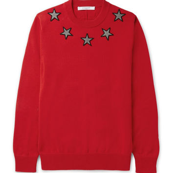 Givenchy - Star-Appliquéd Cotton Sweater