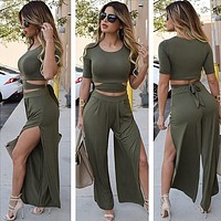Sexy Bodycon Jumpsuit Romper Womens Jumpsuit Short Sleeve Crop Top Pant 2 Piece Set High Split Club Overalls for Women M0516