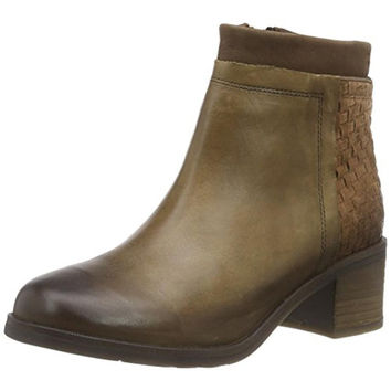 FLY London Womens Acis Leather Stacked Heel Ankle Boots
