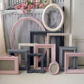 Pink, Gray and Antique White Painted Vintage Frames, MADE to ORDER Set of 12 Open Frames, Cottage Chic Open Frame Gallery, Nursery Decor