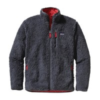 Patagonia Men's Classic Retro-X Windproof Fleece Cardigan | Forge Grey w/Cochineal Red
