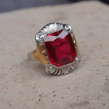 Art Deco Ruby Signet Ring Two Tone Ladies Engagement 10k Victorian July birthstone pink red white gold yellow mans pinky signet