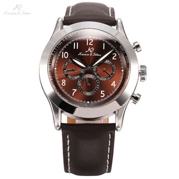 Ks Navigator Series Luxury Vintage Male Clock Relojes Automatic Mechanical Calendar Mens Wrap Gift Business Casual Watch / KS125