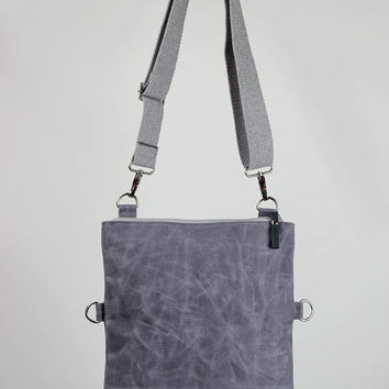 Light Grey Waxed Foldover Bag, Small Waxed Fold Over Canvas Bag, Zipper Closure, Cotton Long Strap, Dual-Use, Crossbody and Shoulder Use Bag
