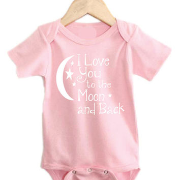 Pink or Blue I Love you to the Moon and Back Baby Onesuit