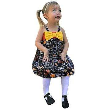Hot Sale Fashion 2018 Baby Girls Dresses Infant Toddler Baby Girls Pumpkin Bow Party Dress Halloween Clothes Dresses XJ50