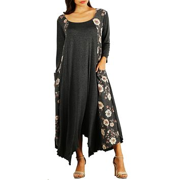 Funfash Women Plus Size Gray Black Floral Long Sleeves Maxi Dress Made in USA