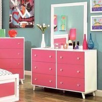 Youthful Adorable Wooden Dresser In Contemporary Style, Pink And White dummy