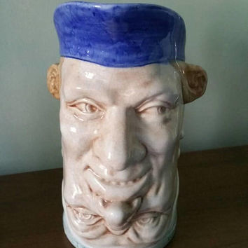 Sarreguemines Majolica  double face grotesque jug/French upside down ceramic jug 1890s/rare find /sells worldwide from UK