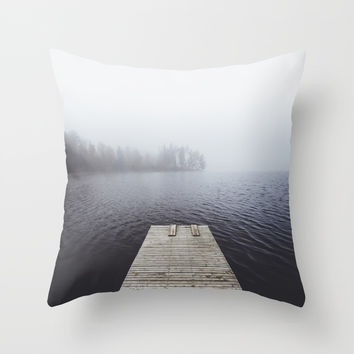 Fading into the mist Throw Pillow by happymelvin