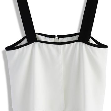 Tiered Flaps Crop Top in White