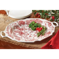 Mud Pie Christmas Stoneware Serving Platter – Holly