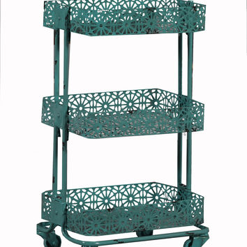 Linon Turquoise Metal Three Tier Cart