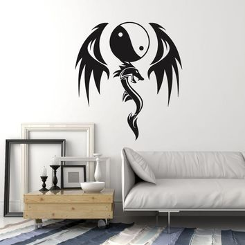 Vinyl Wall Decal Dragon Yin Yang Asian Style Zen Decor Idea Stickers Mural (ig5343)