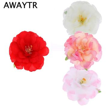 AWAYTR Women Girl Bohemia Bridal Peony Flower Hair Clip Hairpins Barrette Wedding Decoration Hair Accessories Beach Headwear
