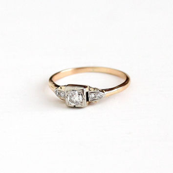 Vintage 14k Rosy Yellow & White Gold .28 CTW Diamond Ring - Size 8 1/2 Art Deco Two Tone 1930s 1940s Engagement Bridal Fine Jewelry