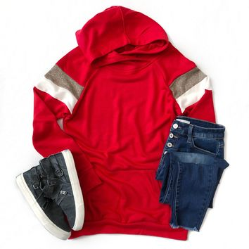 Red Hoodie with Tan and Ivory Varsity Stripes