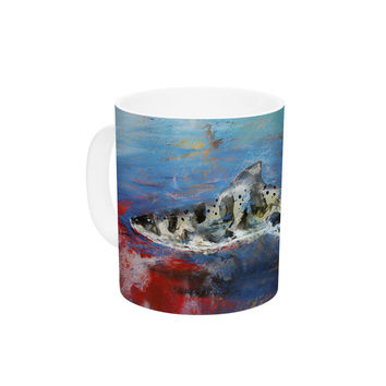 "Josh Serafin ""Sea Leopard"" Blue Shark Ceramic Coffee Mug"