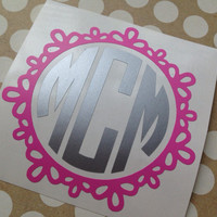 Princess Scallop Monogram | Princess Cut Decal | Princess Decal | Monogrammed Decal | Car Decal | Preppy | Prep | Prepster | Vinyl Decal