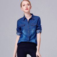 Fashion Slim Jeans Long Sleeve Shirt Blouse