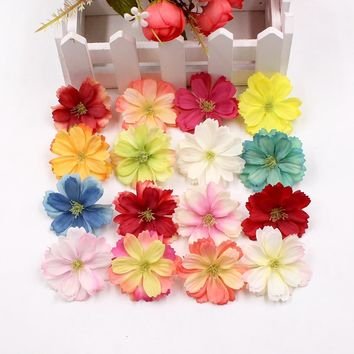 New 10pcs 4.5cm artificial silk plum flower head wedding home decoration DIY flower wall decoration scrapbook craft flower