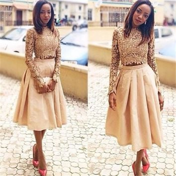 Two-Piece 2016 New Summer Sexy Tea-Length Long Sleeve Champagne Lace Women Special Party occasion robe de cocktail Dress