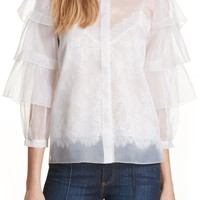 Alice + Olivia Mary Alice Tiered Sleeve Silk Blouse | Nordstrom