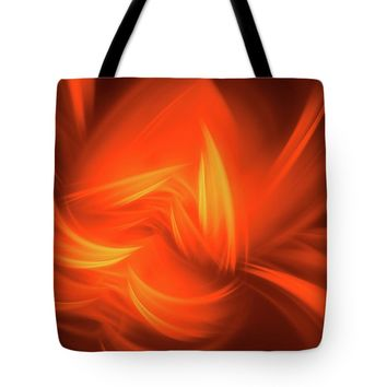 Red And Orange Fractal Abstract Tote Bag
