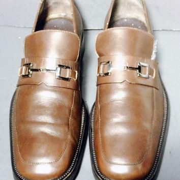 GUCCI Brown Leather Loafers Men's Shoes Size 11D
