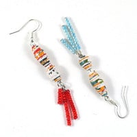 Mismatched Earrings Dangle Handmade Paper Bead Earrings Multicoloured with Red and Baby Blue Seed Bead Tassels