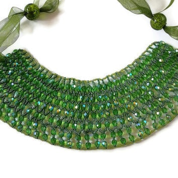 Jewelry Beaded netted collar green seed bead  necklace ribbon Czech glass faceted  emerald lamp work organza ribbon adjustable