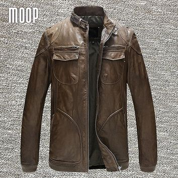 Genuine leather jacket men sheepskin rock coats motorcycle jacket chaqueta moto hombre veste cuir homme cappotto free ship LT049
