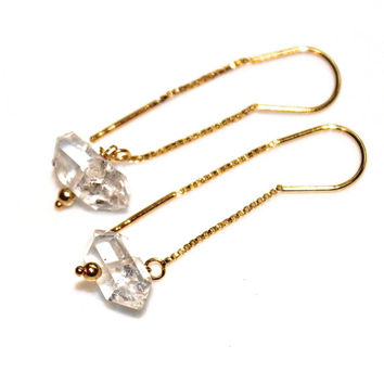 Simple Earrings Herkimer Diamond Earrings Herkimer Quartz Earrings Gold Filled Ear Thread Everyday Jewelry Long Earrings Quartz Jewelry