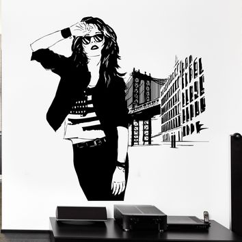 Wall Sticker Vinyl Decal Beautiful American Girl Sexy Woman City Decor Unique Gift (ed440)