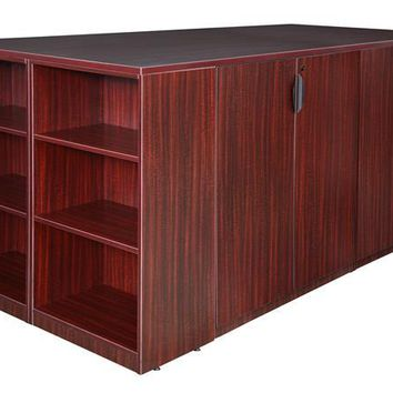Legacy Stand Up 2 Storage Cabinet/ Lateral File/ Desk Quad with Bookcase End- Mahogany