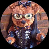 Punk Girl Teddy Bear - Vegan Leather Clad one-of-a-kind unique adult gift