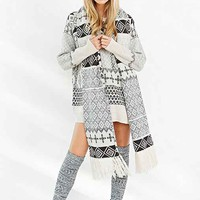 BDG Scarf Attack Fair Isle Sweater- Black & White