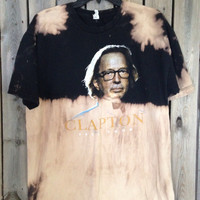 Eric Clapton bleached tie dyed shirt soft grunge size Large