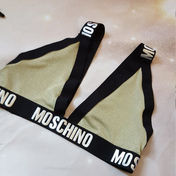 Reworked gold moschino style bralette