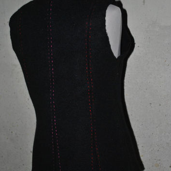 Black Wool Felted Vest With Handstitching