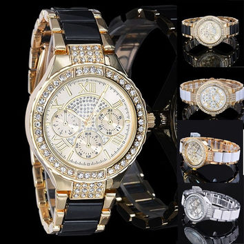 Womens Ladies Lady Girl Luxury Fashion Crystal Gold Silver Quartz Wrist Watch WT Z_G = 1956580932