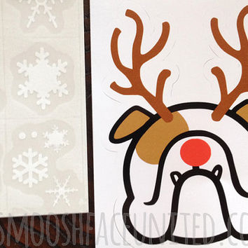 English Bulldog Holiday decal - Bulldog reindeer - add a Bully fun touch for the Christmas & Holiday season!