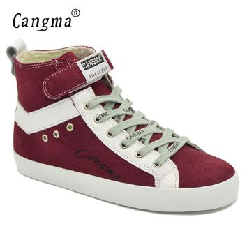 CANGMA Designer Woman's Boots Wine Red Casual Shoes Genuine Leather Sneakers Women Lace Up Cow Suede Shoes Ankle Boots Female