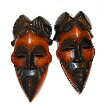 "12"" - 13"" African Wood Mask: Black and Brown"